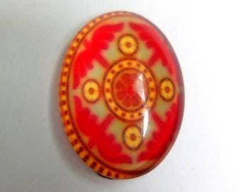 Cabochon glass oval 18x13mm Bohemian red flower