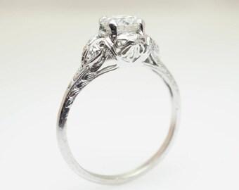 Platinum Old European Cut Diamond Art Deco Engagement Ring platinum diamond ring platinum Art Deco diamond engagement platinum engagement
