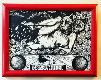 Conjunctio*** the union of Luna and Sol.  Original framed 9x12 drawing by Alexis Price