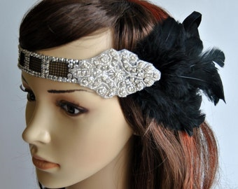 Art Deco Flapper Feather Headband 20's , Vintage Inspired Headpiece, The Great Gatsby Headband, 1920's, 1930's, Feather, Silver, gray