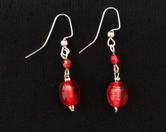 Red Lampwork Glass Drop Earrings