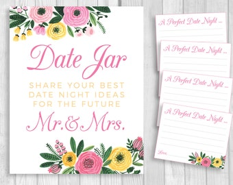 Date Jar 8x10 Printable Bridal Shower or Wedding Date Night Ideas for Mr. & Mrs. White Sign and 4x5 Cards - Pink Yellow Watercolor Flowers