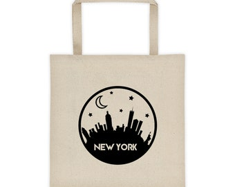 New York Skyline Tote Bag, Tote Bag, Yoga Bag, School Bag, Grocery Bag, Boho bag, Totes, Gifts for her