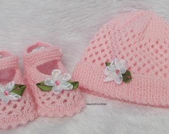 Beanie Baby wool 0/3 months pink petal marietricotine hand knit