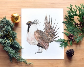 Greater Sage Grouse, Fine Art, Watercolor Painting, Giclee Print, Museum Quality, Bird Lover, North American Bird