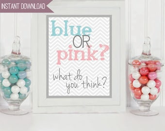 """Gender Reveal Baby Party Blue or Pink 8"""" x 10"""" INSTANT DOWNLOAD"""