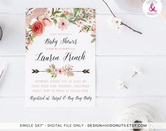 Shabby Chic, Boho Baby Shower Invitation, Girl, Printable, Floral, Arrow [247b]