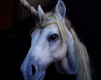 Faux Taxidermy Unicorn Head Animal Friendly Decorative Art Handmade in Wales, Great Britain Life Size