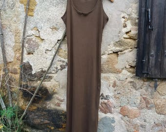Indie clothing boho brown grunge dress organic hemp hand dyed natural minimalist chic rustic hippy racerback sustainable ethical fashion