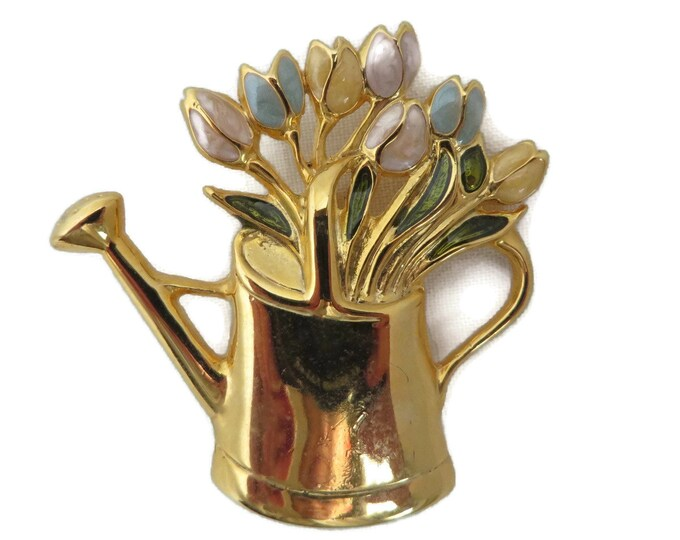 Watering Can Brooch, Lucite Flowers Pin, Vintage Brooch, Goldtone Watering Can, Pastel Flowers Pin, Mother's Day Gift