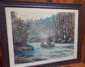 Original Canoeing Watercolor