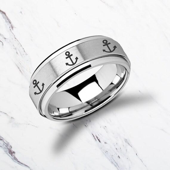 Laser Engraved Fidget Spinner Ring Minimal Anchor Design Satin & Polished Edges - 8mm Available - Lifetime Size Exchanges