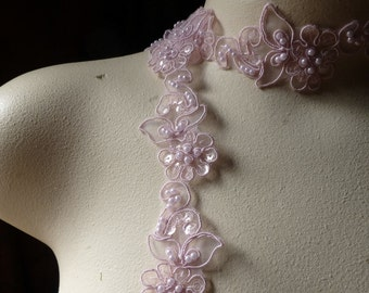 Rose Pink Beaded Lace Trim for Lyrical Dance, Bridal, Headbands, Veils, Costumes BL 4038rp