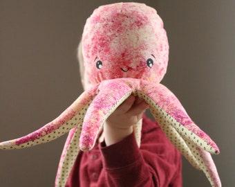 Handmade Soft Plush Stuffed Octopus Animal Pink Yellow Polka Dots