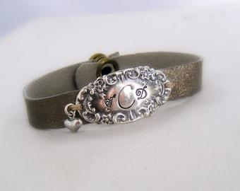 Monogram Silver Wrap Bracelet  Victorian Leather Vintage Bracelet Antique Personalized Initials Hand Stamped Sterling, Elegant,  B3