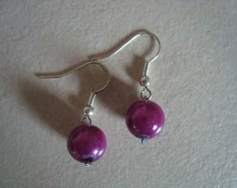 Fancy purple rose bead earrings