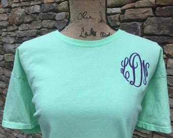 Monogram Shirt - Short Sleeve Monogrammed Shirt - Embroidered Shirt - Monogram Embroidery