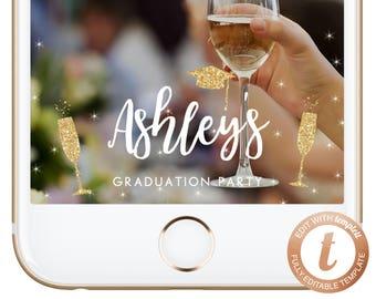 INSTANT DOWNLOAD Snapchat Geofilter Graduation Geofilters Graduation Gift Ideas Congrats Graduate Gold Grad Snapchat Filter Templett