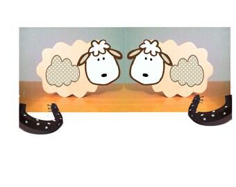 Lamb nursery decor, wooden lamb, curtain tie backs, lamb hold backs, sheep nursery, Easter lamb, baptism gift, farm animal decor