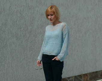 Cropped mohair sweater Hand knit Mohair long sleeved  cropped sweater  cropped sweater Loose knitting