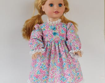 18 inch doll dress, pink and turquoise fine print.