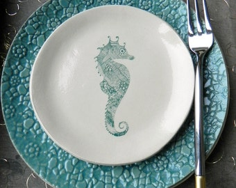 Sea Horse Ceramic Plate Turquoise Blue Flowery Lace Dessert Plate Ocean Serving Plate Trinket Dish - Set of 2