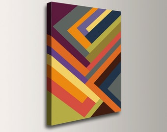 """Canvas geometric artwork mulit color stripe pattern large vibrant painting art print of colorful abstract art modern home decor """"Outer Edge"""""""