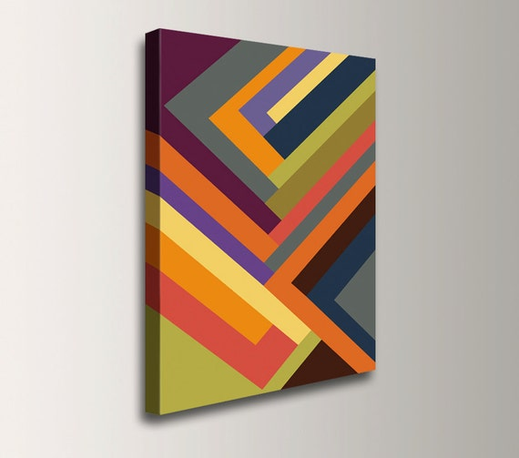 "Canvas geometric artwork mulit color stripe pattern large vibrant painting art print of colorful abstract art modern home decor ""Outer Edge"""