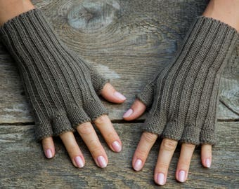 Light brown gloves women gloves half finger gloves short finger gloves alpaca wool gloves alpaca knit gloves winter alpaca gloves warm glove