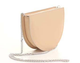 Half circle bag with chain strap, small crossbody bag, pastel peach crossbody bag, crossbody purse, leather shoulder bag, leather purse,