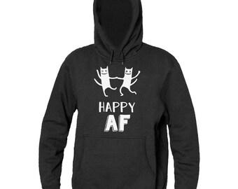 Happy AF Crazy Dancing Cats Design Men's Hooded Sweatshirt