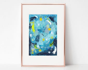 Abstract painting on paper Abstract art Watercolor painting Modern art Original painting Abstract wall art Wall hanging Home decor Blue art