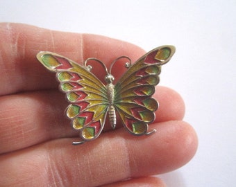 Vintage Beau Sterling Silver Colorful Enamel Signed Butterfly Pin Brooch