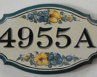 Personalized Address Sign, Hand Painted House Number Plaque