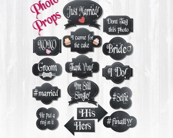 Chalk board Wedding photo booth props- Wedding reception props - Printable DIY photo props- Wedding Photo Booth Party Props