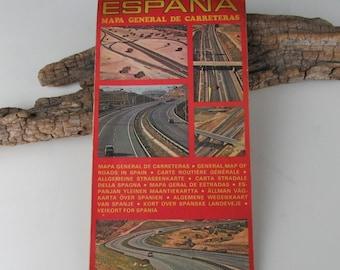 1960s Vintage Road Map of Spain