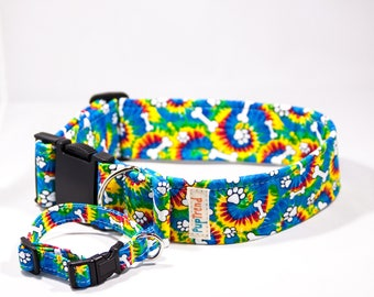 Grateful Dead Dog Collar//Hippie Dog Collar//Trendy Dog Collar//Tie Dye Dog Collar//Handcrafted Dog Collar