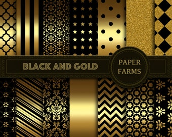 Black and gold digital paper, black and gold scrapbook paper, instant download