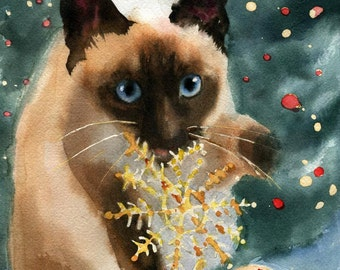 Christmas Siamese cat Art Print of a watercolor Painting Big Large Huge Girls Teens Cat  Lover Unique Gift