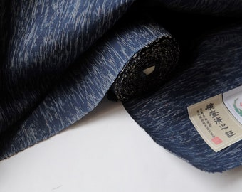 Indigo Blue Silk Tsumugi Kimono Fabric unused bolt by the yard Woven Navy abstract deep water / wood grain / plant 100% Silk OFF the bolt