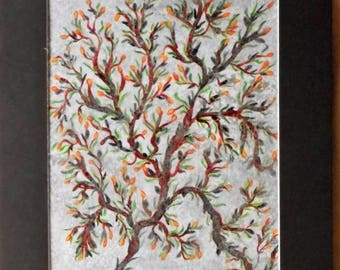 Tree acrylic painting NEW unframed Crooked tree with buds and spring leaves