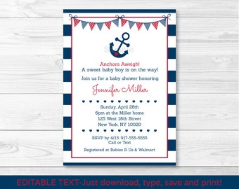 Nautical Anchor Baby Shower Invitation / Nautical Baby Shower /  Navy & Red / Editable PDF INSTANT DOWNLOAD A212
