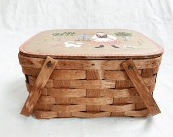 Vintage Handpainted Matrushka Folk Fairytale Lidded Picnic Basket