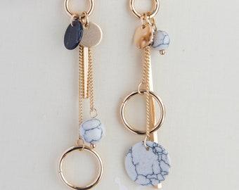 Long asymmetrical boho earrings, dainty earrings for her, dangle disc bar asymmetrical earrings golden boho earrings, gift for her