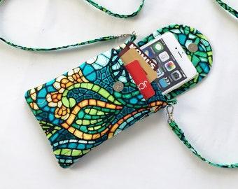 Iphone 6 Plus Smart Phone Gadget Case Detachable Neck Strap Greens Gold Teal