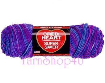 GRAPE FIZZ Red Heart Super Saver, Shades of Purple, Multi Purple color yarn, 5oz acrylic yarn, Dark Purple Ombre yarn, worsted medium yarn