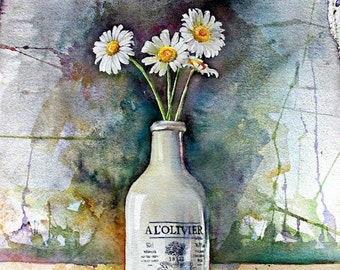 watercolor art, Daisies, Watercolor Painting, print from original art, watercolor art, still life watercolor,