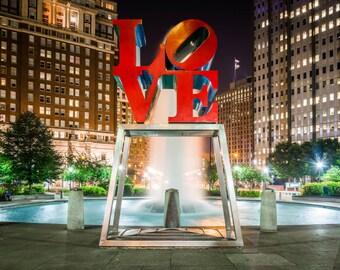 LOVE Park at night, in Center City, Philadelphia, Pennsylvania. Photo Print, Metal, Canvas, Framed.