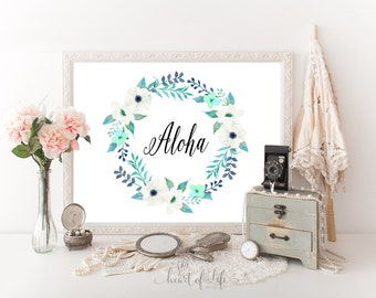 Printable art Aloha art print Welcome sign print Blue Hawaiian art Watercolor wreath printable Blue flower decor Welcome to our home decor