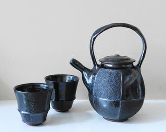 Black Teapot set, Ceramic teapot set, Handmade, Japanese Style Teapot, Father's Day Gift, Teaware, Contemporary Teapot, Teapot with cups